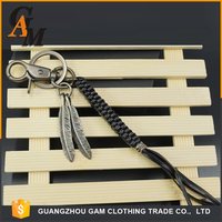 Promotional oem logo key ring fashion key chain coin holder custom China Supplier tassel leather keychain