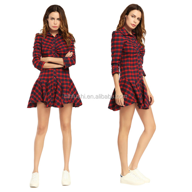 autumn women dresses plaid shirt dress fashion for women New styles clothing apparel Plaid pattern short dress