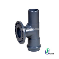 UPVC One faucet one flange and one insert regular tees M/F/F DIN PN10 (Rubber Ring)
