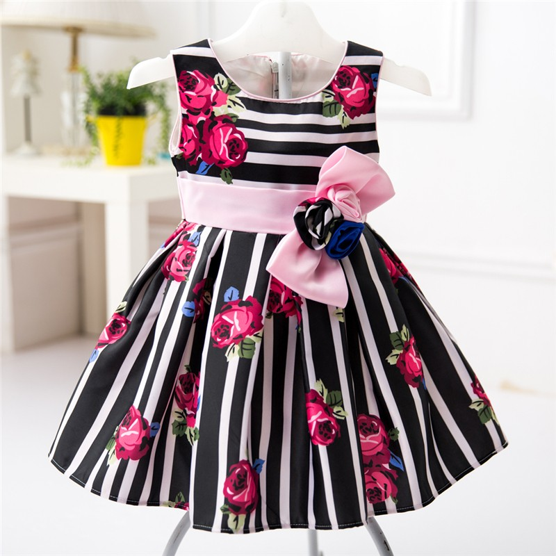 Beautiful Rose Flower Printed Frocks Design Wedding Party Dresses for Baby Girls L1825XZ