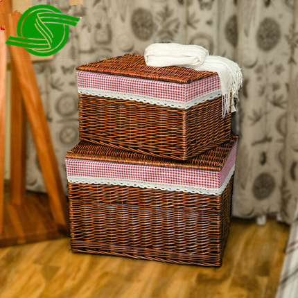 Wholesale all kinds of hand woven storage baskets, laundry baskets with lid