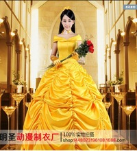 Ecoparty Adult Beauty and Beast Princess Belle Custom Costume Stage Party Cosplay Dress