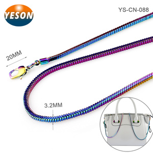 Popular Rainbow Color Brass Snake Metal Shoulder Chains For Handbags