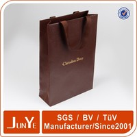 Christmas gift hot stamp brown paper bags with handle