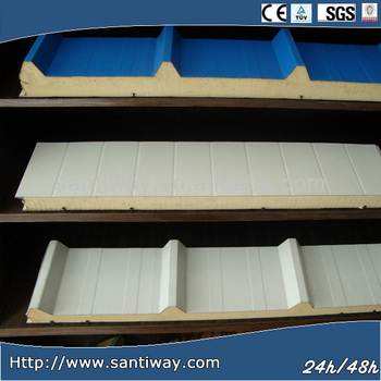 Corrugated pu foam Rock wool/PU/EPS sandwich panel