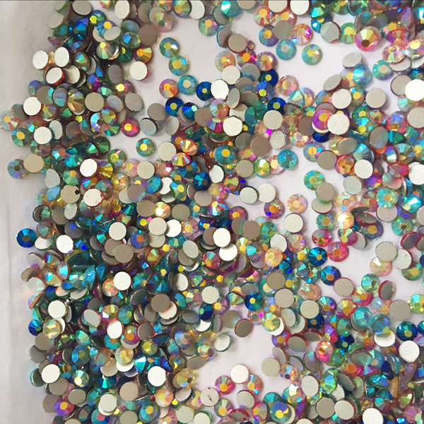 Top Quality SS3-SS16 Super Shiny AB Color Nail Art Rhinestones Non Hotfix Flatback Nail <strong>Crystal</strong>