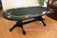 classic 8 person poker table with sold wood leg