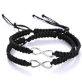 Wholesale 2 pieces Simple design Fashionable colors rope woven bracelet alloy infinity adjustable braided cord Couple bangles