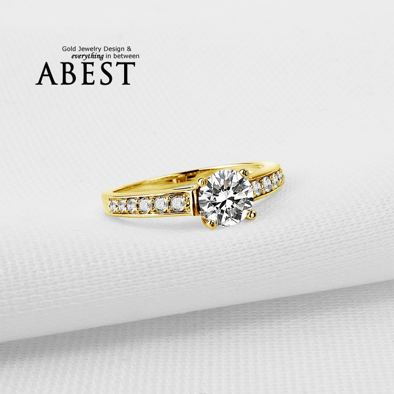 4 Prong Classic 10K Gold Yellow Classic Ring Hot Sale Round Sona Synthetic Simulated Diamond Engagement Wedding Ring Jewelry