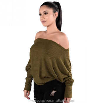 monroo Hot New Slash O-Neck Women Sweaters Off the Shoulder Clothes Women Long Flare Sleeves Strapless Knitted Striped Sweater