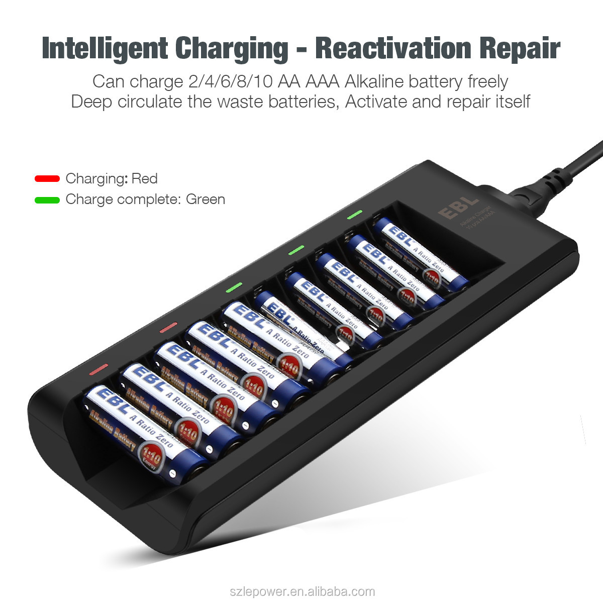EBL 10 Bay Alkaline Battery Charger for Disposable AA AAA Alkaline Battery