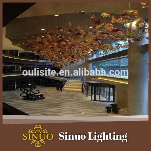 Hand made fish shape transparent color large glass crystal chandelier for home improvement
