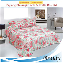 Pretty flower printing 100% polyester patchwork 3d quilt cover and bed sheet