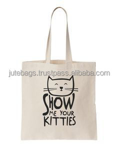 kitten printed cotton bag