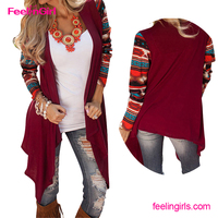 Wholesale Printed Long Sleeve Ladies Casual Long Coat Design