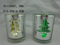 Laser engraved Tealight Glass Candle Holder with Christmas Tree ,deer