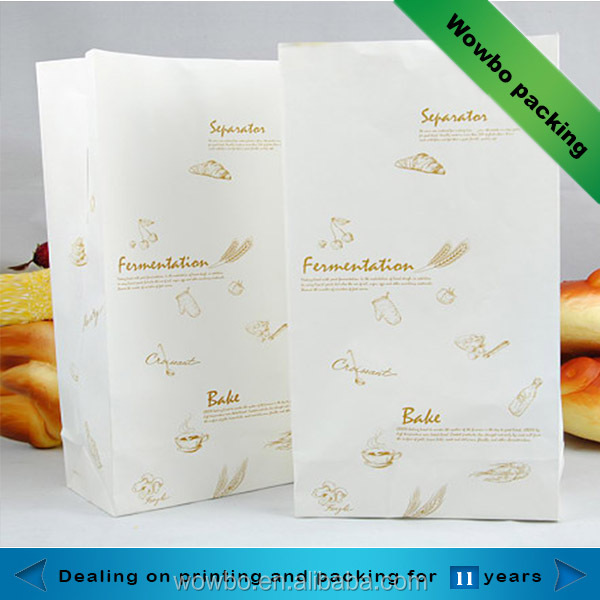 china manufacturers food grade white kraft paper bakery bag for bread and hot dog packaging