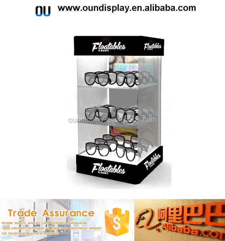 acrylic eyewear accessory display stand lockable sunglasses frames counter display