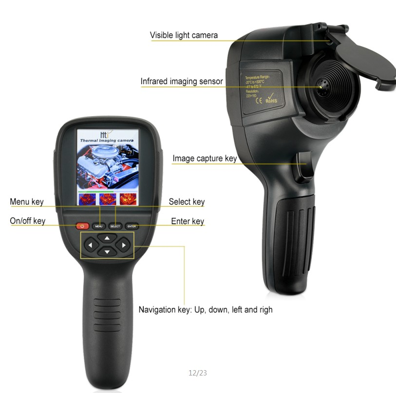 HT-18 new developed handheld thermal imaging camera with resolution 220*160.