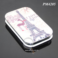 Eiffel Tower Souvenir Leather Pocket Makeup Mirror Cosmetic Compact Mirrors Metal Promotion Gift Mirror