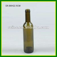 Antique Green Round Glass Wine Bottle