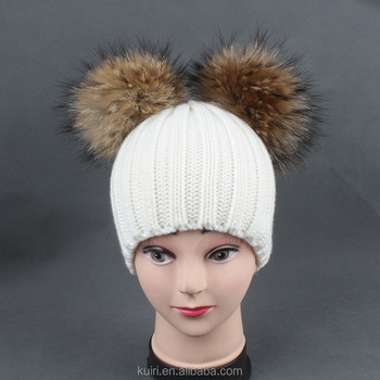 100% Real Fur pompoms Ball lady Winter Warm Fur Hat For women Beanies Cap Knitted Hats