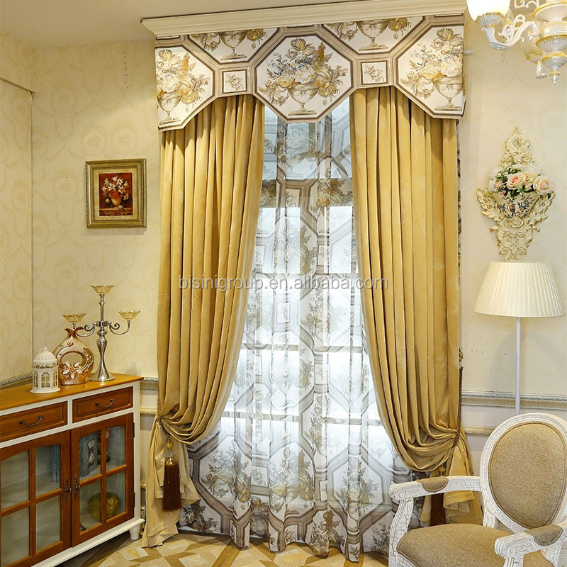 Interior Grandeur Elegant Classic Italian Style Custom Golden Curtain and Valance BF11-10243a