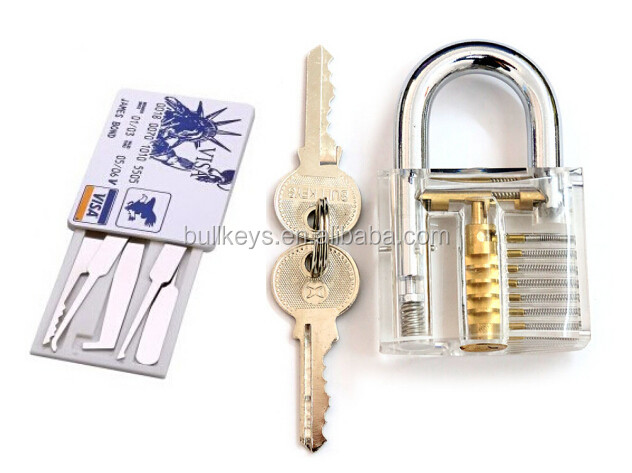Credit card pick set with transparent practice visible padlock in clear case