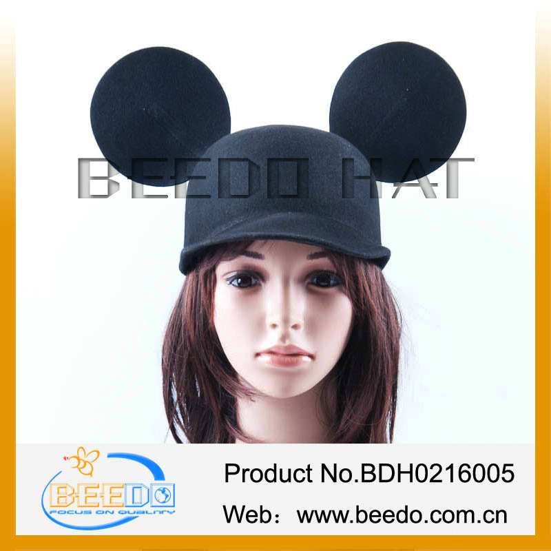 New products 2014 wool felt cap with ears;baseball cap ear flap