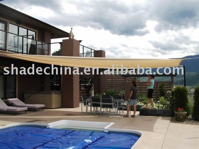 Swimming pool shade sail for home