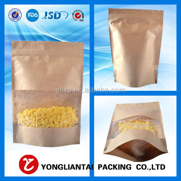 custom printed ziplock stand up kraft paper aluminum foil bag/aluminum foil laminated paper bag/kraft paper pouch for oatmeal