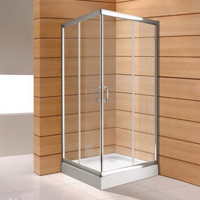 Arc Shape Glass Shower Door Hinge Tempered Glass Aluminium Frame