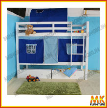 wooden kid's bunk bed with tent