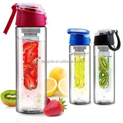 32OZ food grade Tritan fruit/vegetable/tea water bottle with infuser banner-private label available