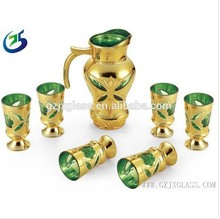 Wholesale Arabic Glassware Gold Plating Carve Glass Drinking Jug Cup Set