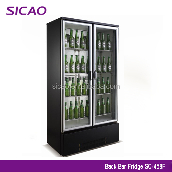 SICAO SC-458F 2 Doors Type Commercial Refrigerator Glass Door Bar Fridge