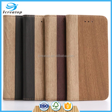 Wood PU Leather Flip Cover Case Skin for iphone 7 case, Wallet Stand Case Cover