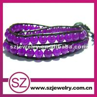 Two layers purple beads leather wrap bracelet wholesale jewellery turkey