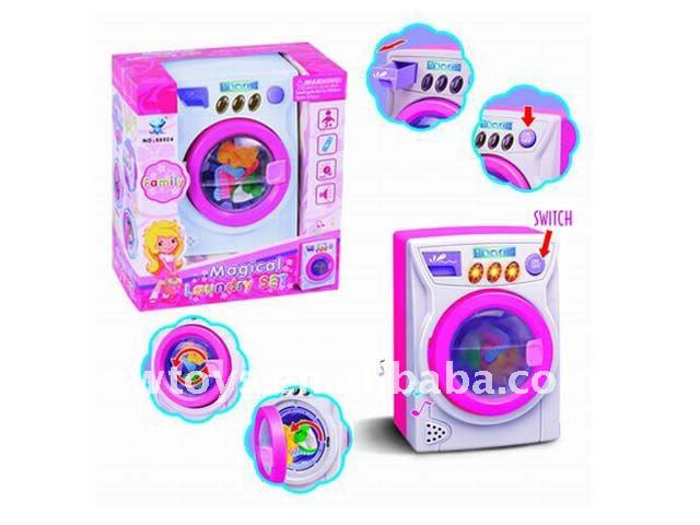 B/O electric plastic washing machine and flat iron toy/kids washing machine and flat iron toy
