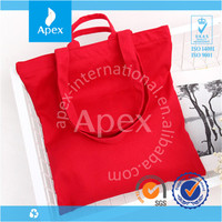 Plain portable red cotton zipper bag for shopping wholesale