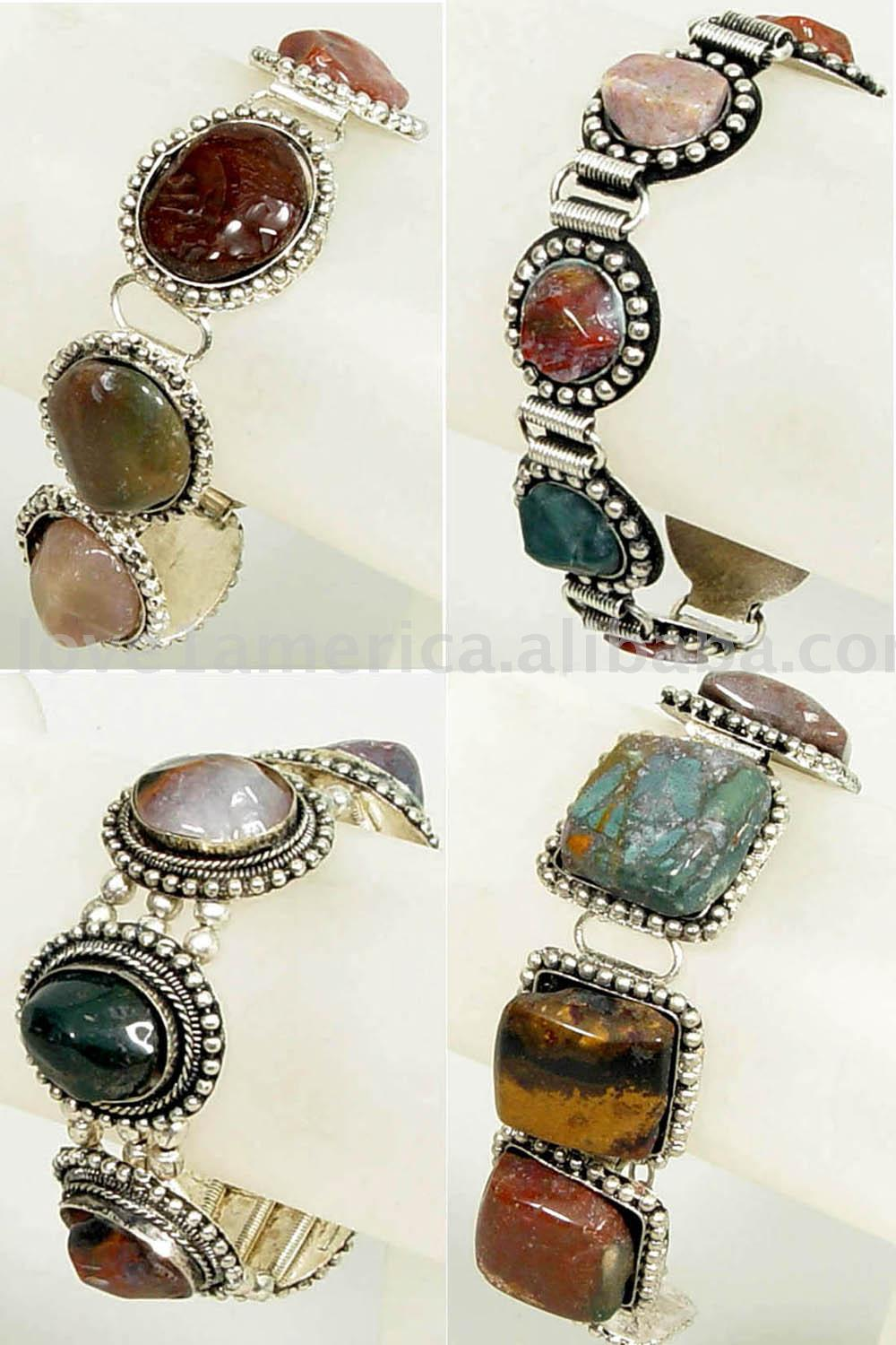 Metal Bracelets With Agate Beads