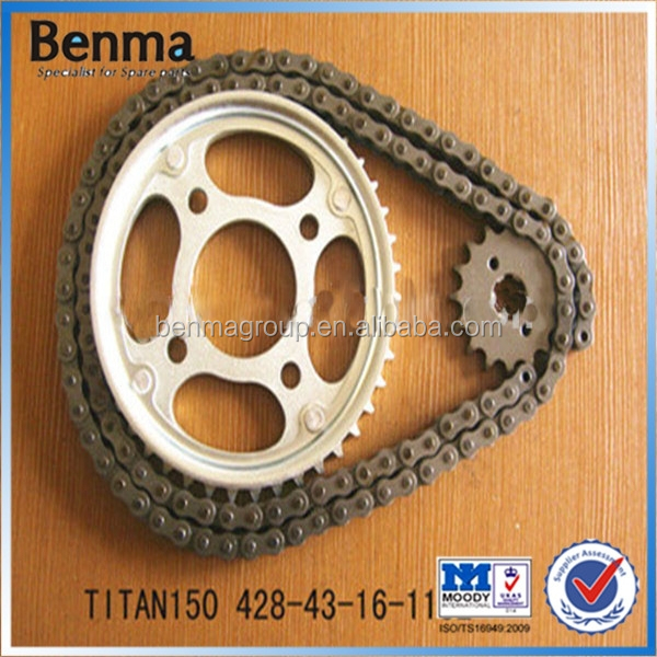 TITAN150 428-43T motorcycle transmission spare part Chian and Sprocket Motorcycle Sprocket,Chain Sprocket