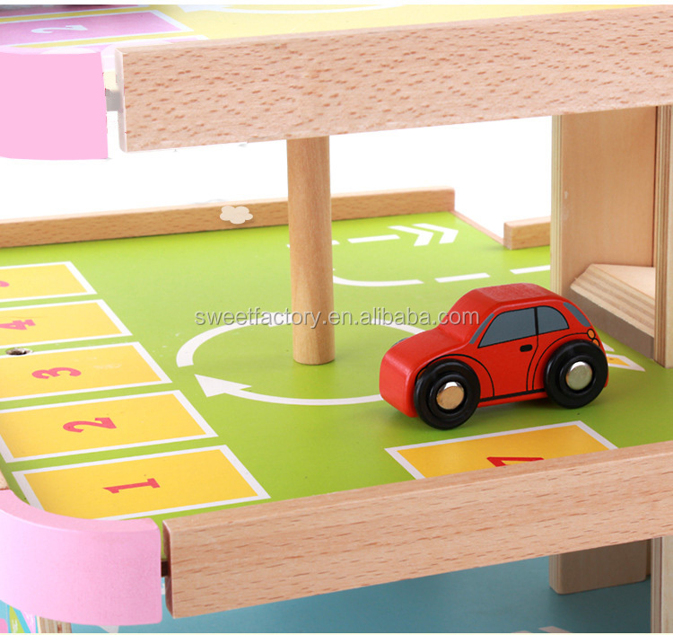High quality wooden parking lot toys