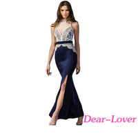 2016 Fashion Elegant Lace Top Maxi Long Sleeveless Party Dress For Women
