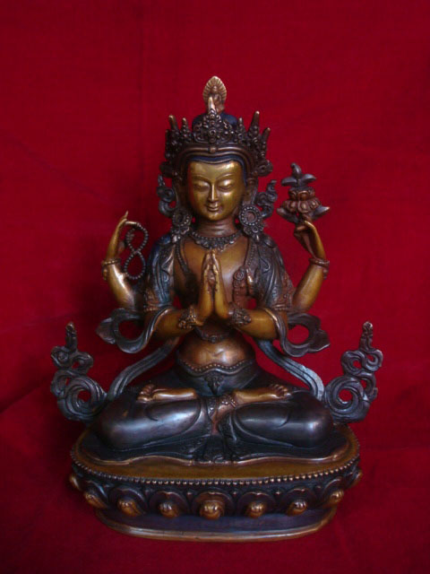 Changresi Buddha Statue - Antique Reproduction - Handmade in Nepal- Tibetan Buddha Statue with Antique Finishing with two ...