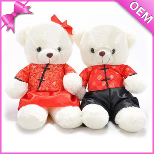 Hot Sale Fantastic A Couple of Wedding Teddy Bear With Tang Suit JZZN-TDB028