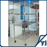 Modern chrome plated movable silver commodity shelving/ light duty wire shelving/ home used storage shelvingw with wheels