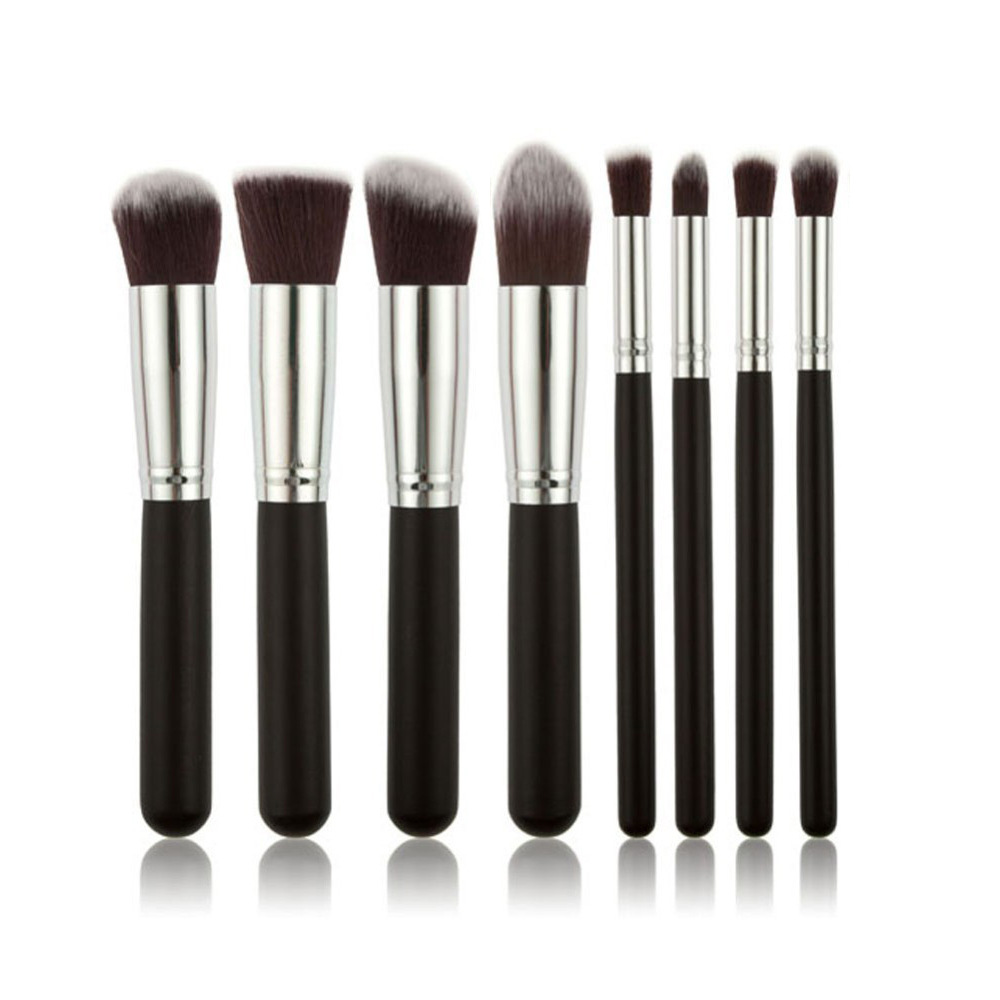 stock disposal high quality black silver opp bag 8pcs kabuki brush set