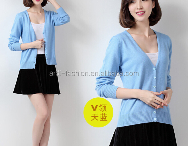 high quality wholesale ladies v-neck plain cashmere bulk cardigan