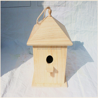 Wooden Bird Cage, Wood Bird House, Multifunctional Large Hanging Bird Feeder